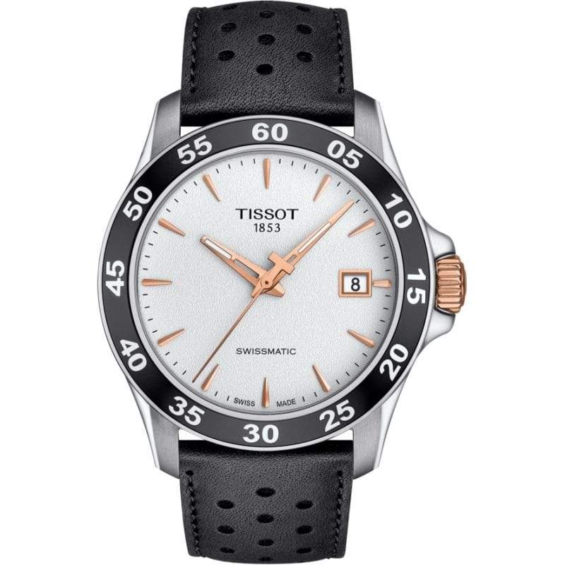 Tissot Watch Tissot V8 Classic Swissmatic Watch | White & Rosegold Dial with Black Leather Bracelet
