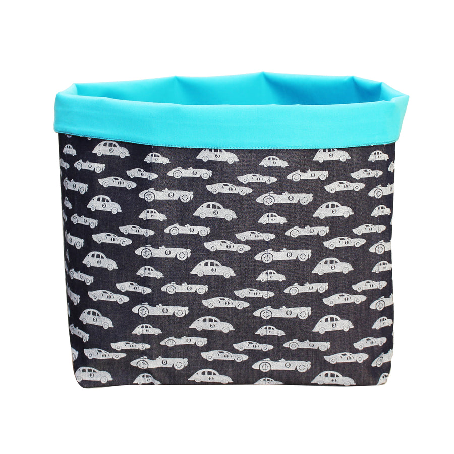 Fabric Toy Storage Bin- Racing Cars - kadambaby.com