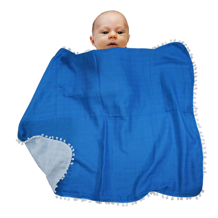 Double Layered Muslin Blanket - Blue - kadambaby.com