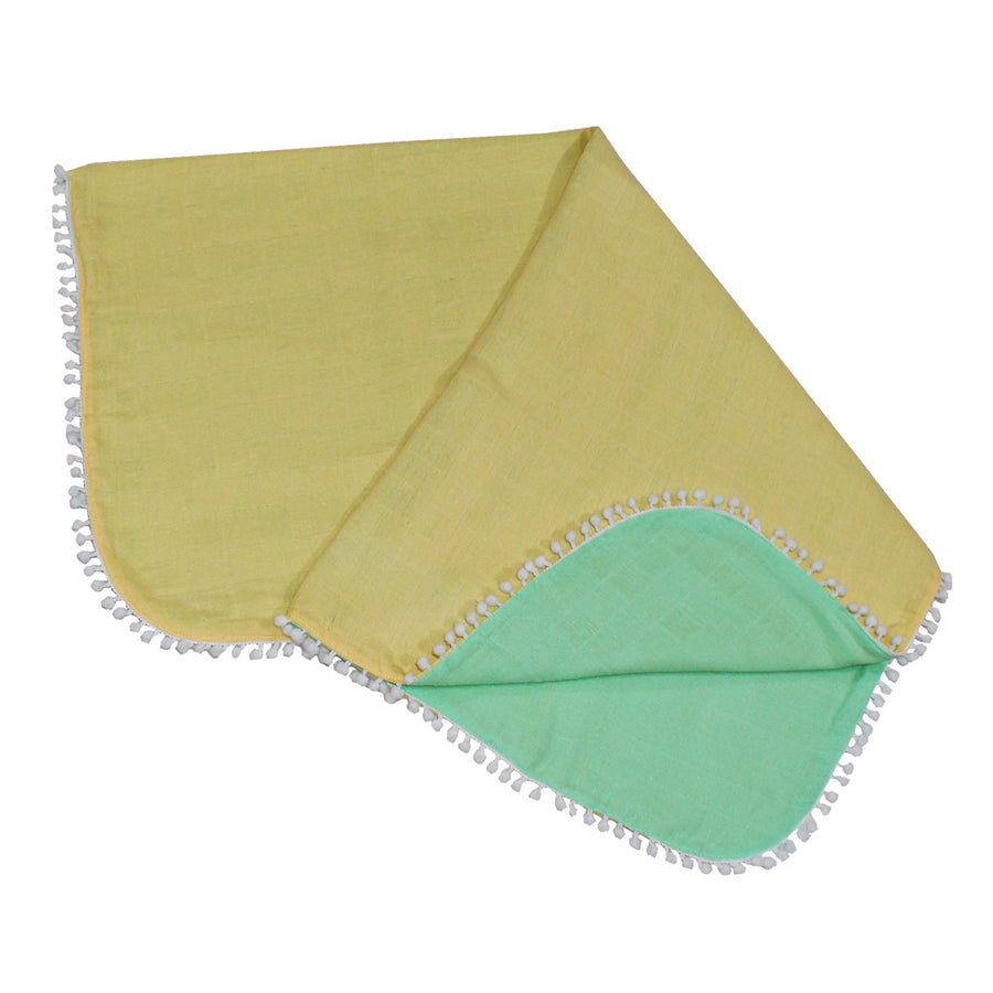Double Layered Muslin Blanket - Yellow - kadambaby.com
