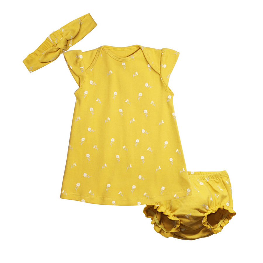 Baby Girl Dress - Yellow - kadambaby.com