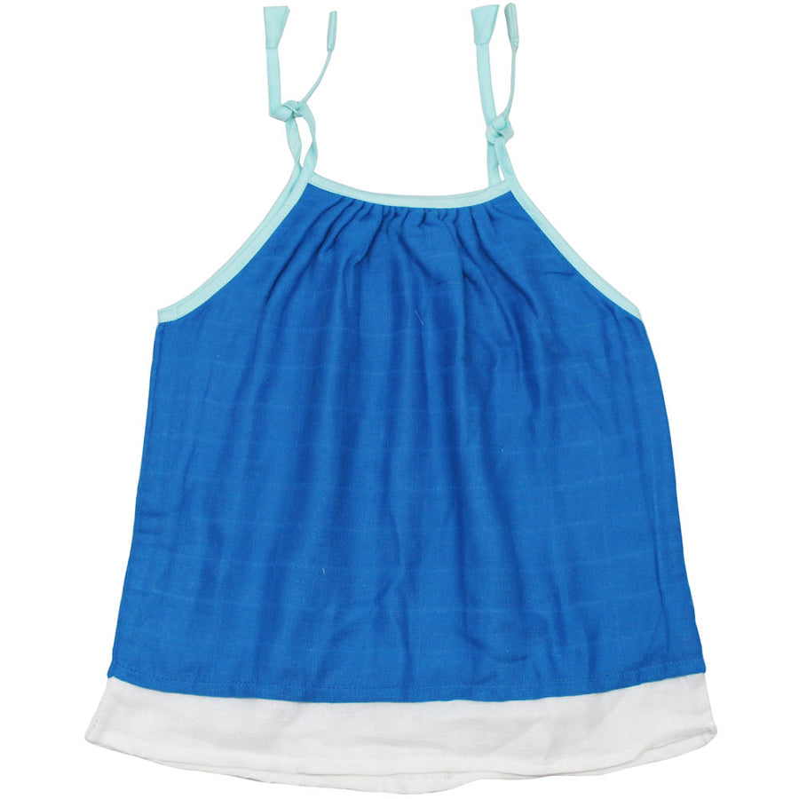 Baby Girl Muslin Summer Dress - Blue - kadambaby.com