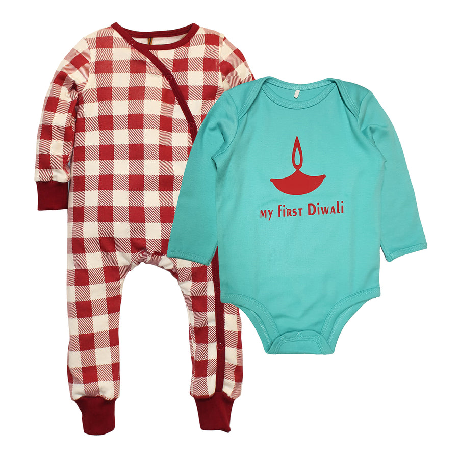 My First Diwali Checks Bodysuit Onesie set