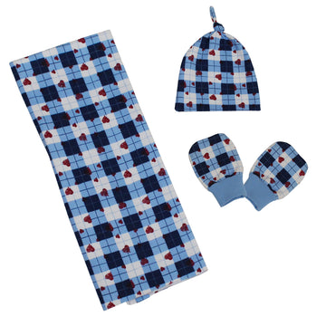 Swaddle Blanket with Cap and Mitten Set - Blue - kadambaby.com