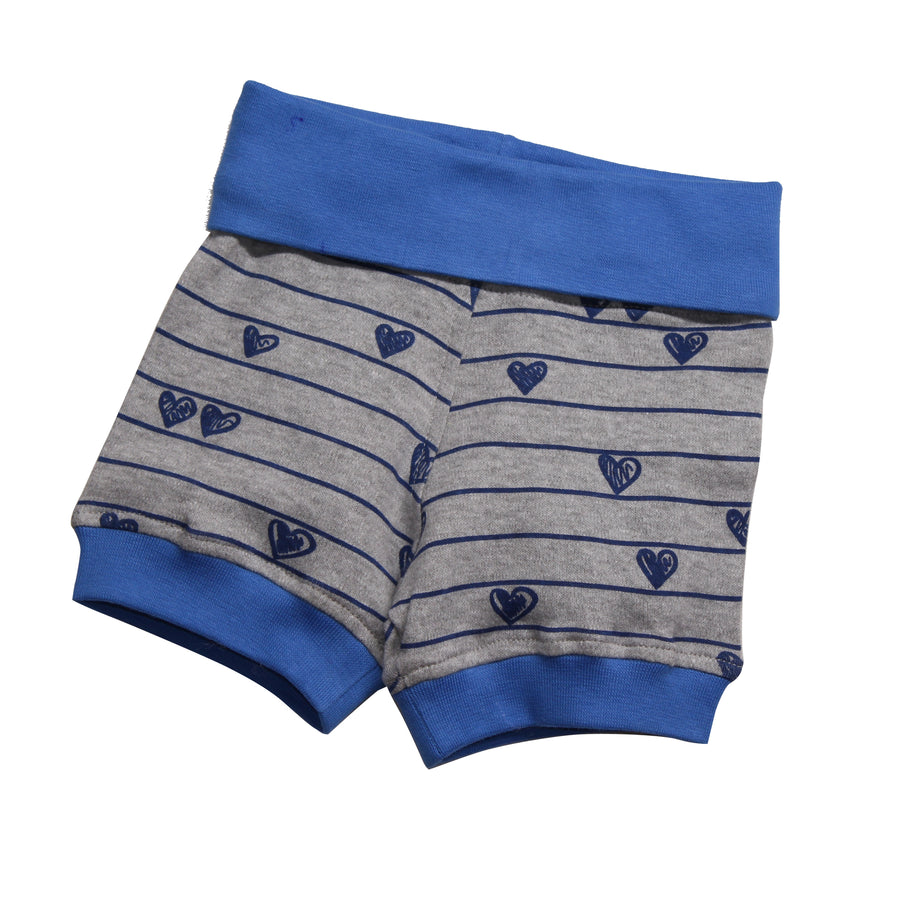 Baby Boy Bubble Shorts -Blue Heart - kadambaby.com