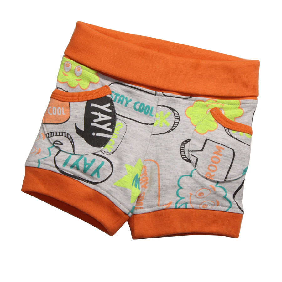 Baby Boy Bubble Shorts -Orange - kadambaby.com