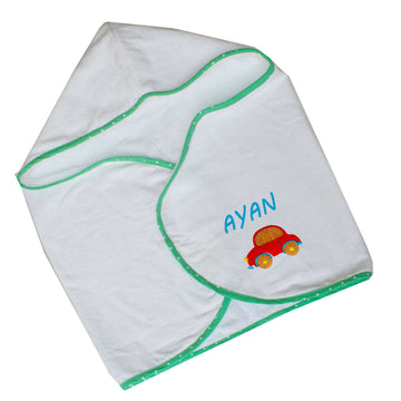 Personalised Hooded Bath Towel Wrap for baby - Green - kadambaby.com