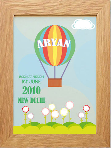 Personalised Birth Poster, Nursery poster, custom wall art - Fly High - kadambaby.com