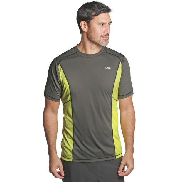 Outdoor Research - Men's Echo S/S Tee - Pewter/ Chartreuse