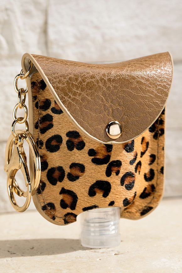 Leopard Print Sanitizer Holder Key Chain