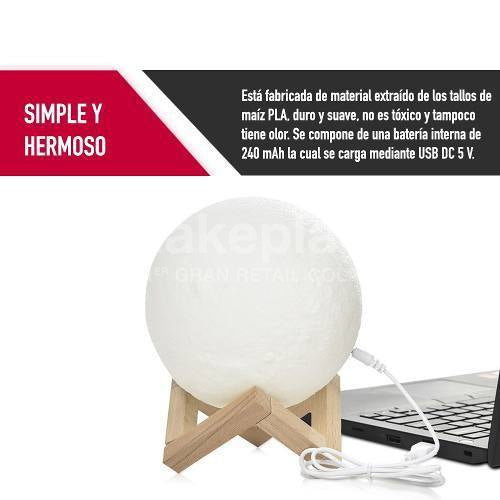 Lampara Luna Led 15 cm. 3d USB Decoracion Hogar