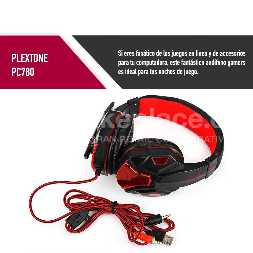 Audifonos Gamer Led Plextone Red PC780 Mic Iluminación