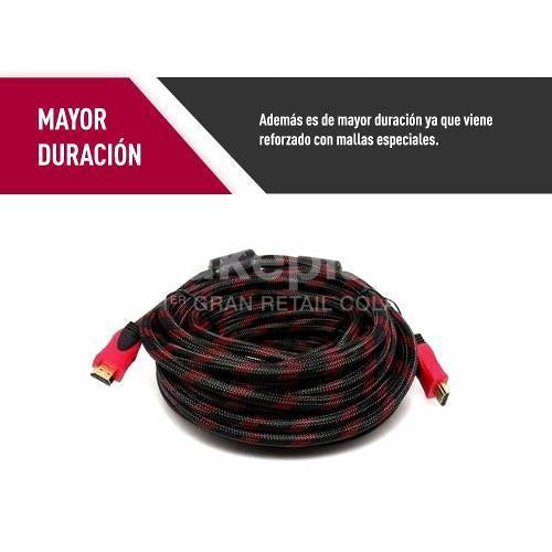 Cable Hdmi Mallado 20 mts. Blindado Negro