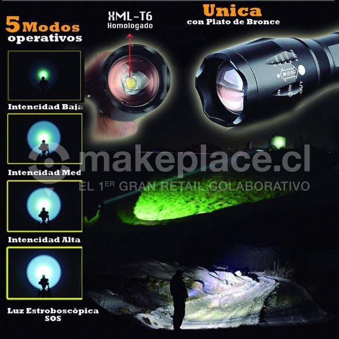 Linterna Táctica Zoom Led 6000 lm. Recargable