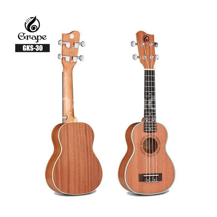Ukelele Soprano Grape Solido 100% Caoba Con Inlays