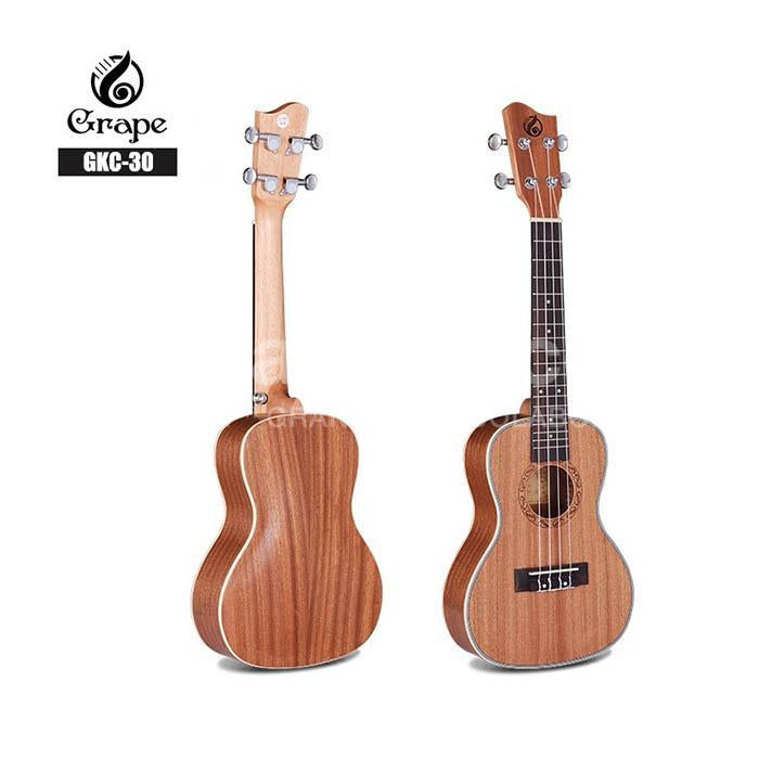 Ukelele Concierto Grape Solido 100% Caoba Solido Con Inlays