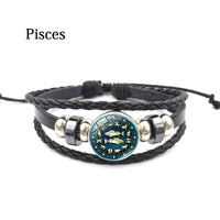 Pisces Zodiac Leather Bracelet