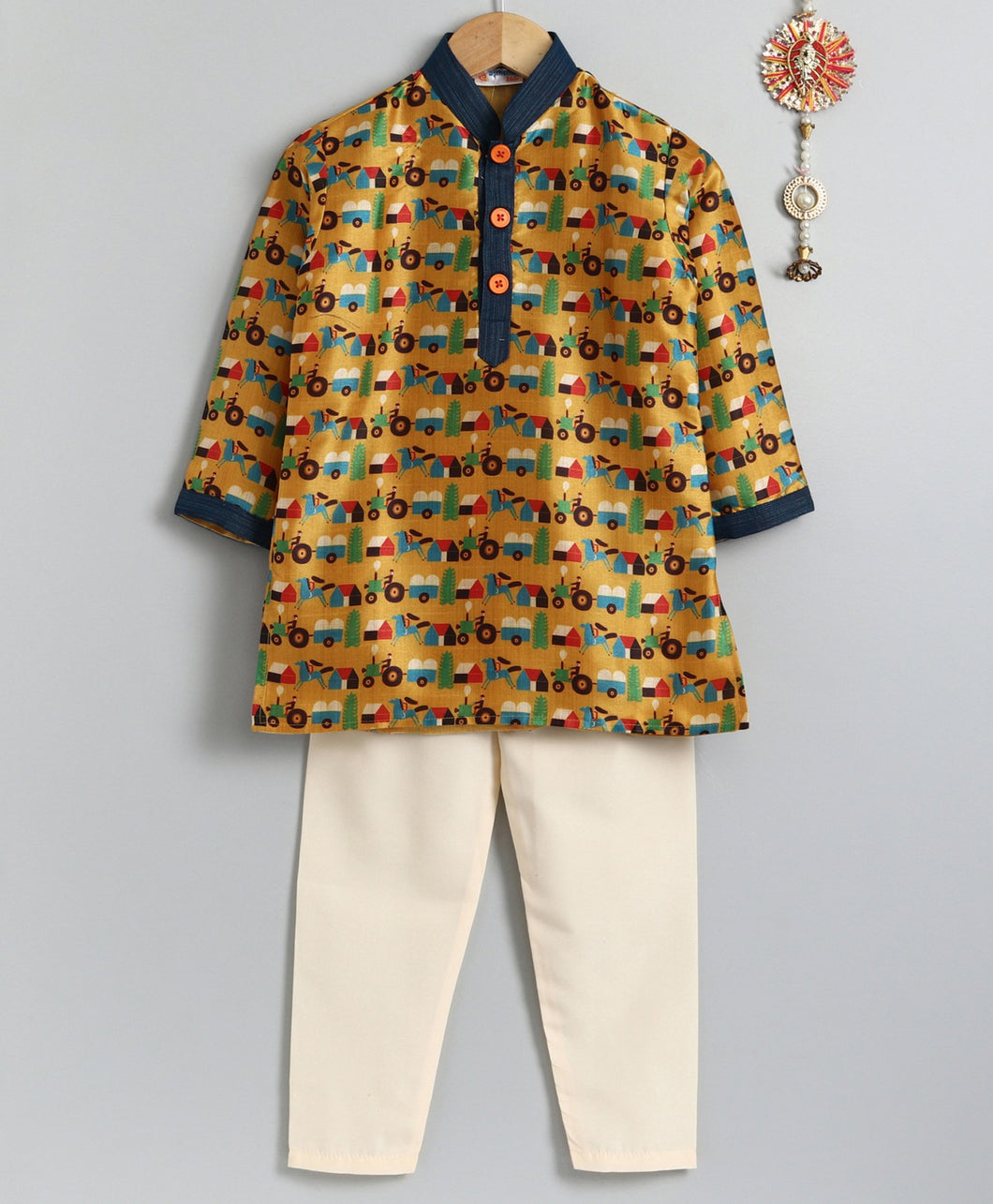 Yellow Horse Tractor Print Kurta Pyjama Set for Boys
