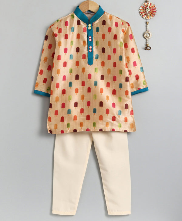 Multicolour Ice-Cream Print Kurta Pyjama Set