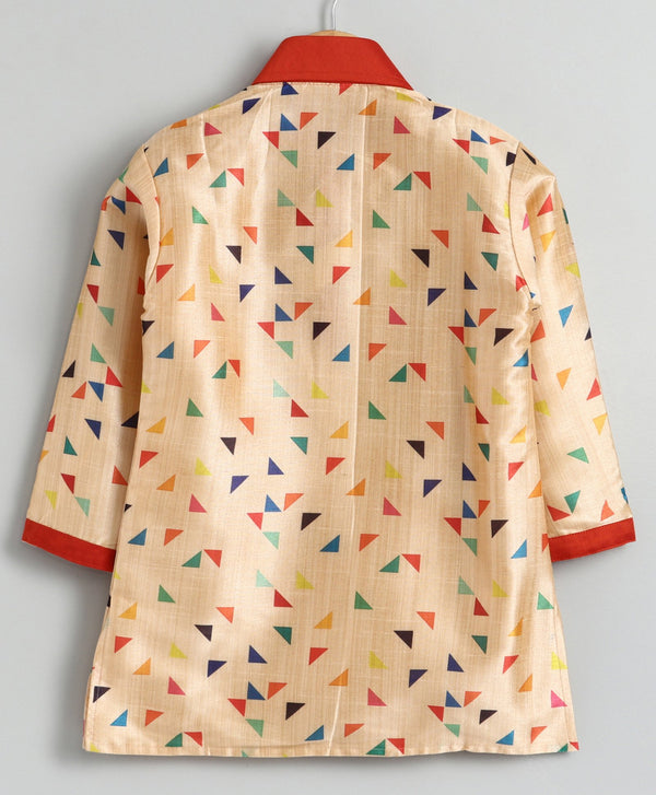 Multicolour Triangle Kurta Pyjama Set for Boys