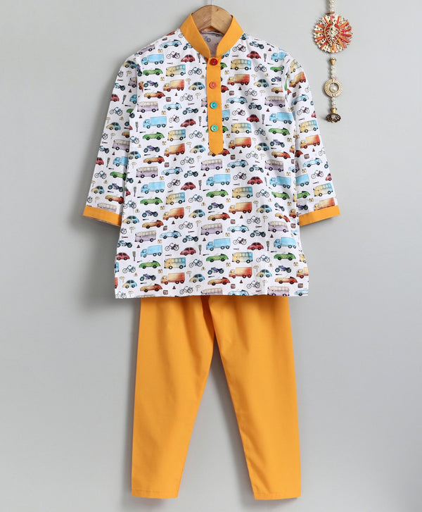 Yellow Transport Kurta Pyjama Set for Boys