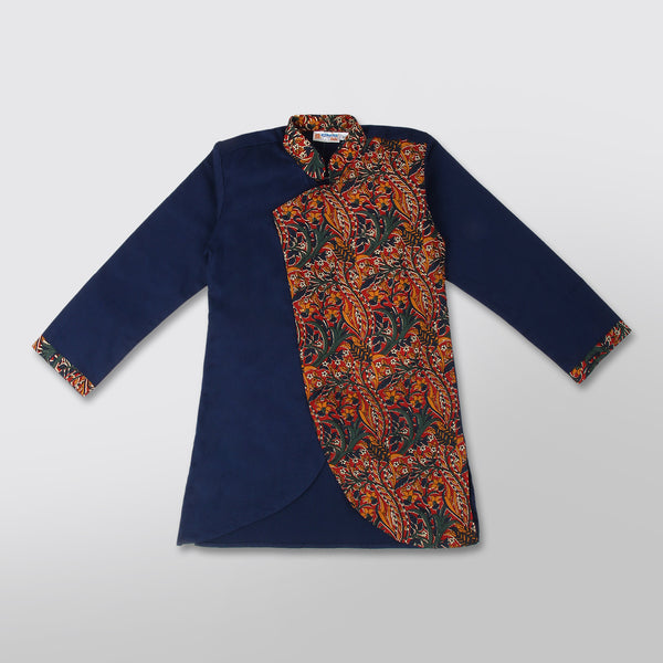 Blue Kurta Set with Kalamkari Print