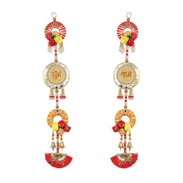 Gota Ring & Florals Shubh Labh Pair
