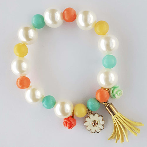 Floral Charms with Tassel on Beaded Bracelet
