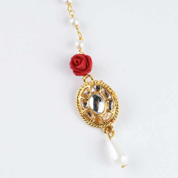 Fancy Kundan Stone Red Flower Maang Tikka