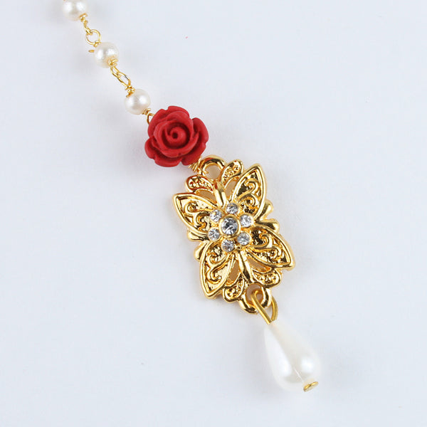 Fancy Diamond Stone Red Flower Maang Tikka