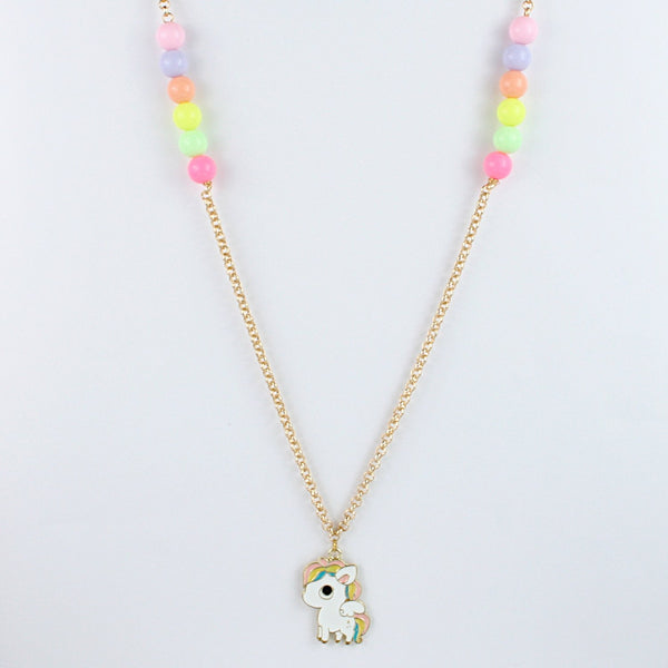 Unicorn Charm Colourful Beads Chain Necklace