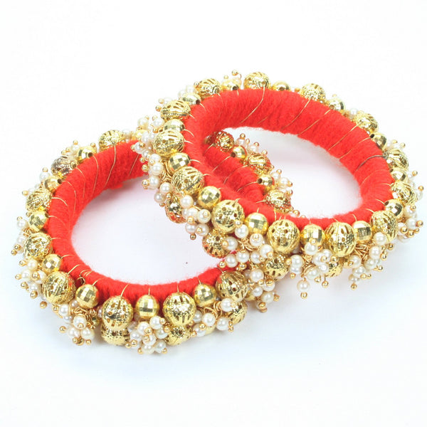 Moti Garja Beaded Bangle -Red (Pair)