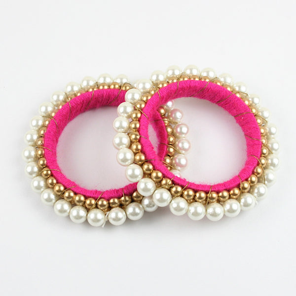 Gold & White Moti Bangle - Pink