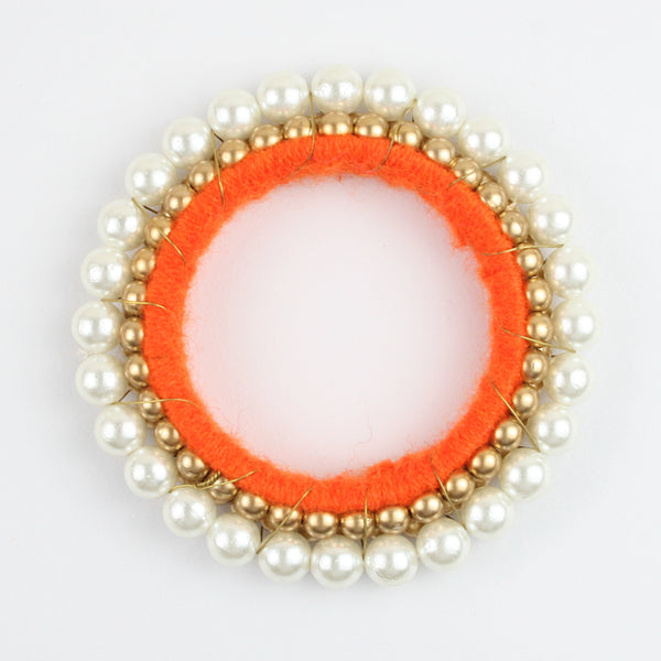 Gold & White Moti Bangle - Orange