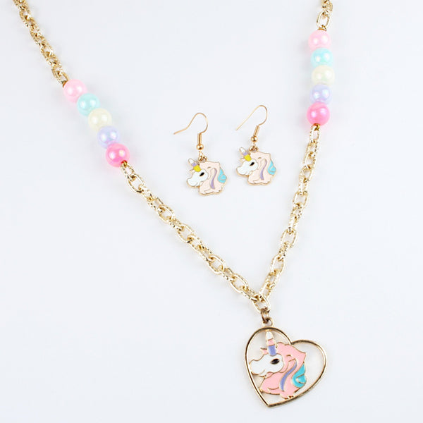 Pink Unicorn Necklace & Earrings Set
