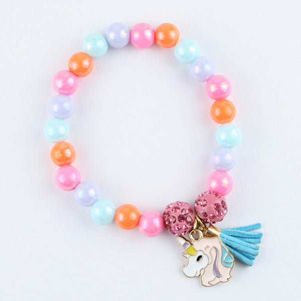 Pink Unicorn Colourful Beads Bracelet