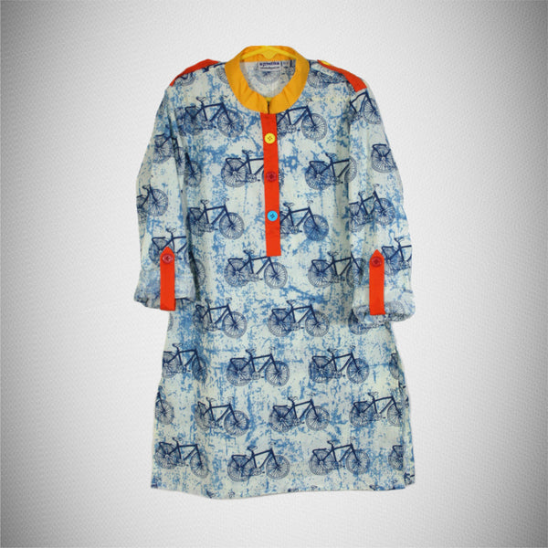Cycle Print Colourful Buttons Kurta