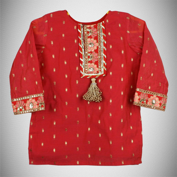 Red Kurta with Golden Tassel
