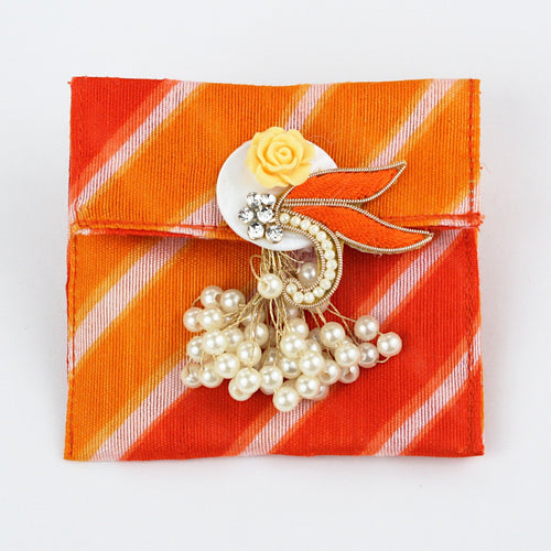 Orange Bandhani Fabric Coin Bag