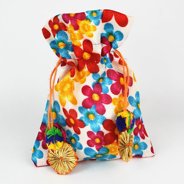 Colourful Floral Print Fabric Potli with Gota Tassel