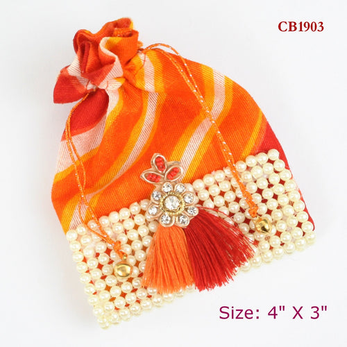 Orange Bandhani Coin Bag