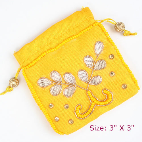 Yellow Gota Pati Coin Pouch