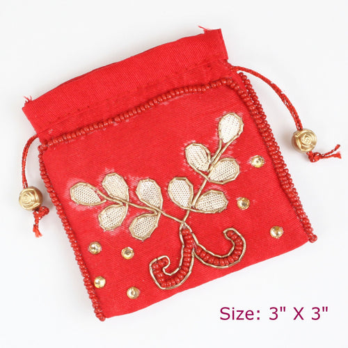 Red Gota Pati Coin Pouch