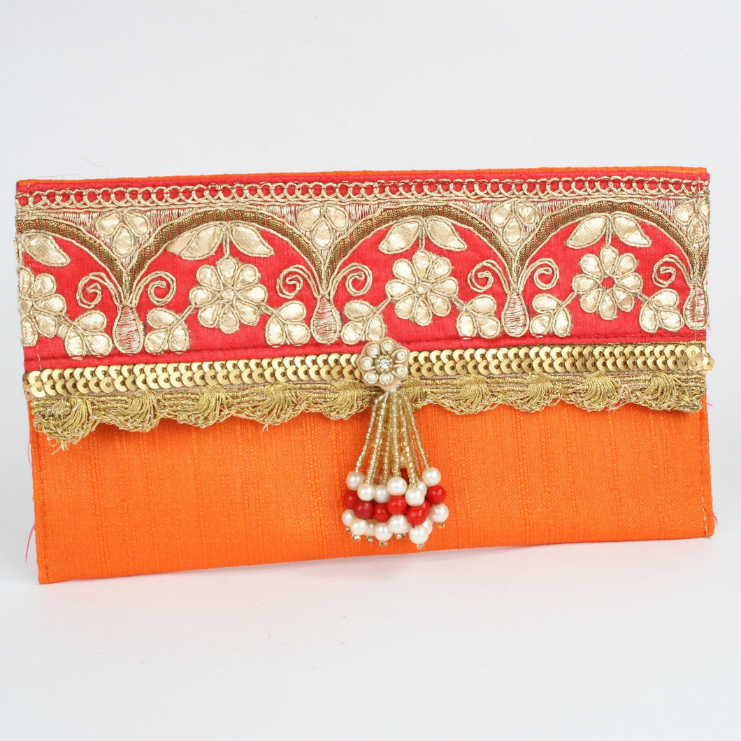 Orange Fabric Fancy Border & Tassel Envelope
