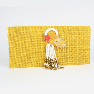 Yellow Chrome Jute Envelope with Fancy Tassel