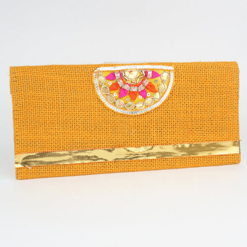 Orange Jute Envelope with Fancy Embroidered Décor