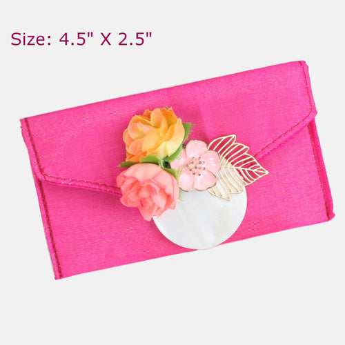 Pink Fabric Envelope with Gold Leaf & Florals