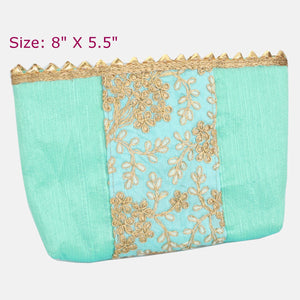 Blue Embroidered Fabric Zipper Pouch