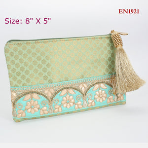 Green Fabric Envelope Zipper Pouch Style