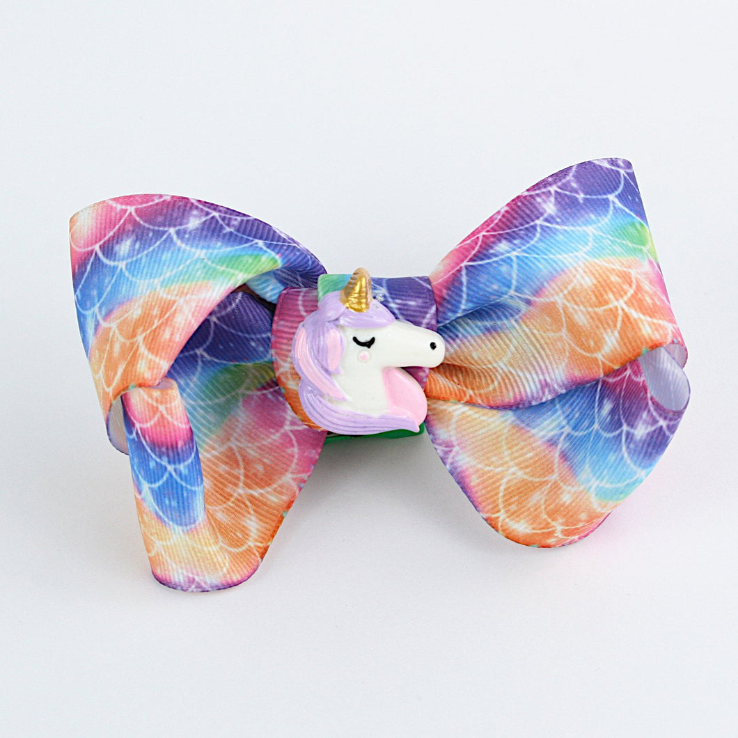 Unicorn Charm Colourful Bow Hairclip